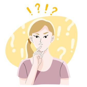 Нерешительная молодая девушка или дама думали выбрать решение дилемм, решение проблем и поиск новых идей,