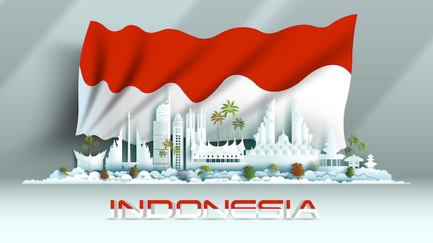 Национальный день празднования годовщины независимости на фоне флага индонезии