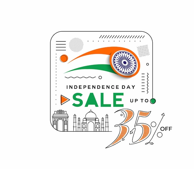 День независимости. скидка 35%. баннер со скидкой. цена предложения со скидкой. вектор современной баннерной иллюстрации.