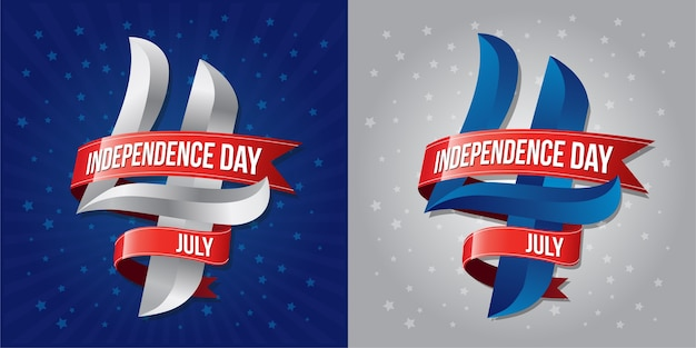 Independence day 4 th july with red ribbons