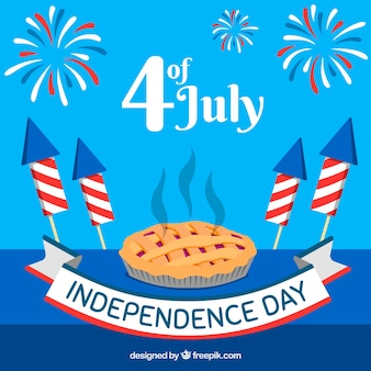 Independence day of 4th of july background in flat style