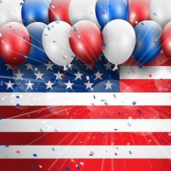 4a independence day celebrazione luglio sfondo con palloncini e coriandoli