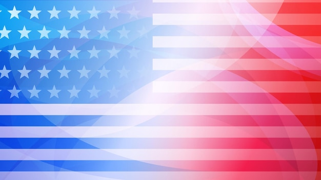 Independence day abstract background with elements of the american flag in red and blue colors