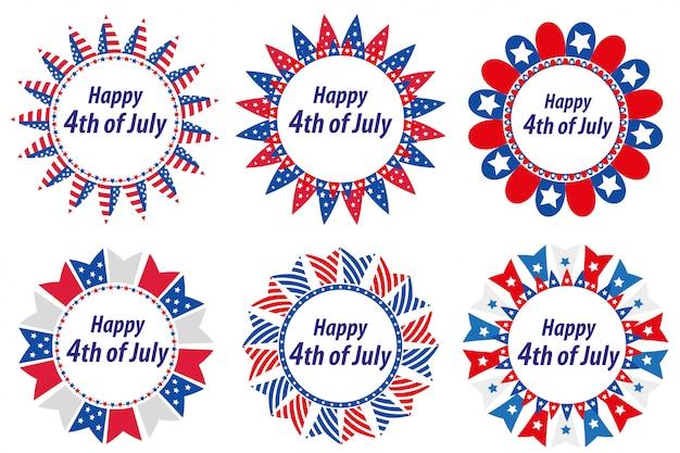 アメリカ独立記念日、アメリカ。フラグ付きのラウンドフレームのセット。 7月4日のテキストのためのスペースを持つ装飾的な要素のコレクション。イラスト、クリップアート。