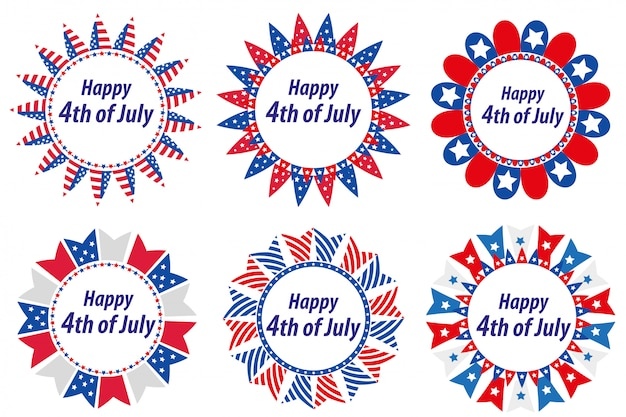 Independence day america, usa. set of round frames with flags. collection of decorative elements with space for text for july 4th. illustration, clip art.