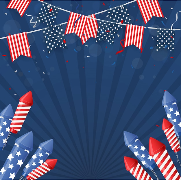Independence day of america with confetti and ribbon background