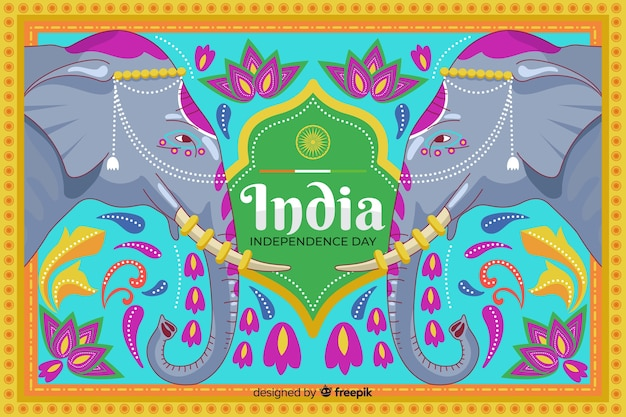 인도 미술 스타일에 독립 기념일 배경