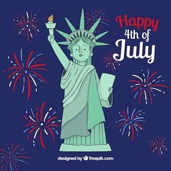 Sfondo di giorno di indipendenza con fuochi d'artificio e statua di libertà