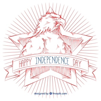 Independence day background with hand-drawn eagle