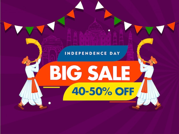 Independence day big sale poster  line art india famous monuments and two men blowing tutari horn on purple rays background.