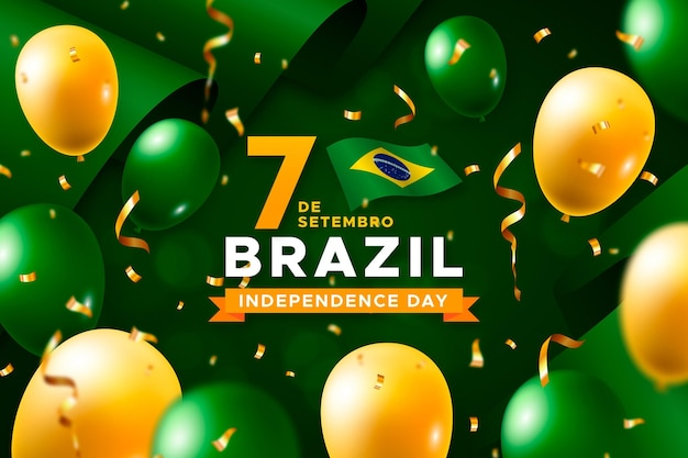 Independence day of brazil with balloons and flags