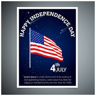Independence day brochure with flag