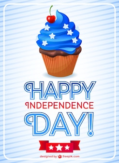 Independence day card with patriotic cupcake