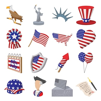 Independence day cartoon icons set isolated