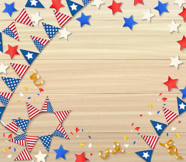 Independence day celebrating design composition with national flags confetti stars serpentine on wooden realistic