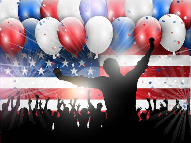 Independence day celebration background with balloons and confetti