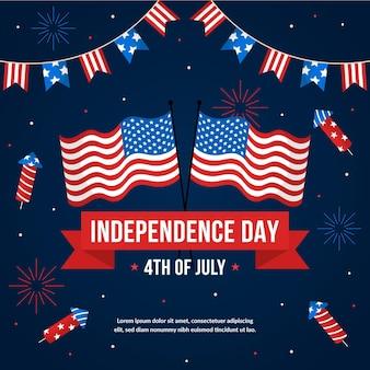 独立記念日のお祝いフラットスタイル