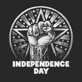 독립 기념일. 분필 질감 칠판에 그리기