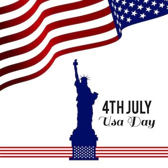 Independence day design with flag and statue of liberty