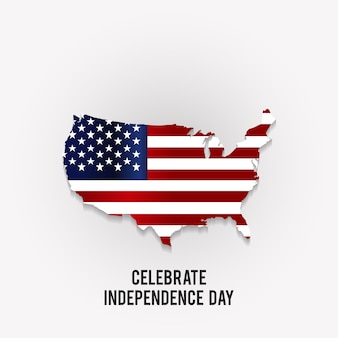 Independence day design with map of america