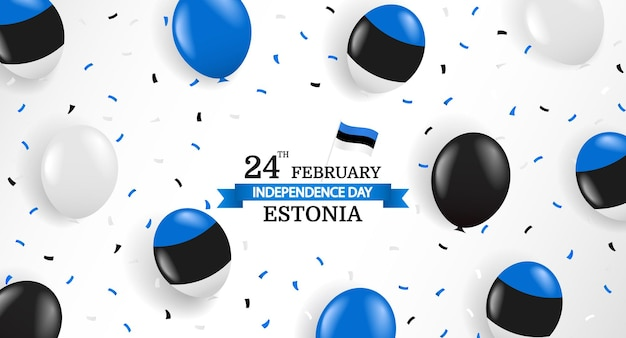 Independence day of estonia. balloons and confetti.