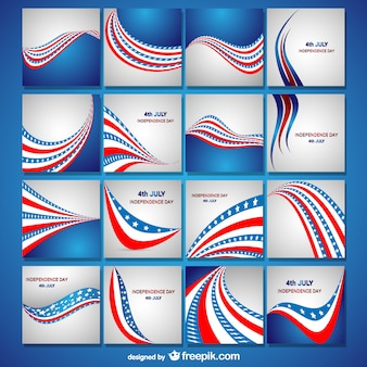 Independence day flag cards collection