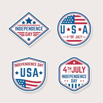 Independence day flat design labels