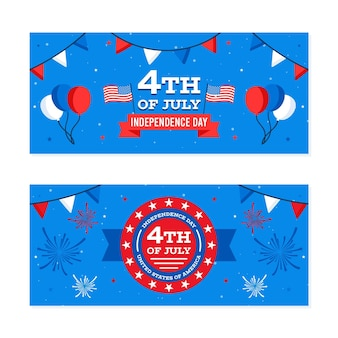 Independence day horizontal banners