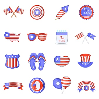 Independence day icons set