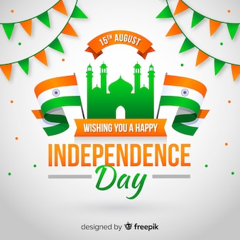 Independence day of india background flat style