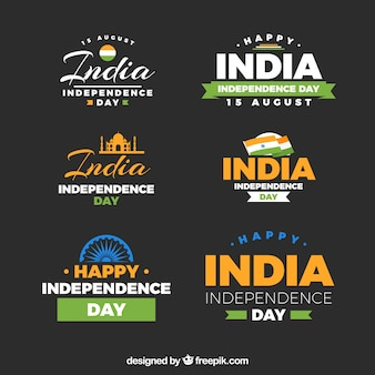 Independence day of india label collection with flat design