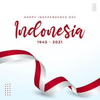 Independence day indonesia greeting card design with waving flag