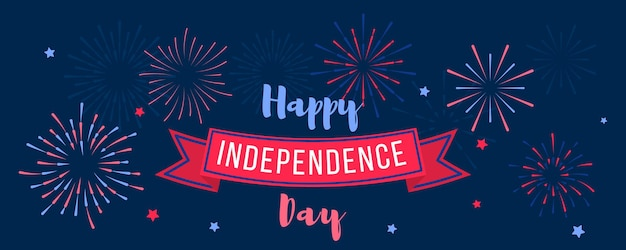 独立記念日7月4日。ホリデーカード、アメリカ色の手持ち花火の招待状