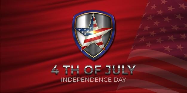 День независимости, 4 июля, праздничное приглашение со звездами сша в национальных цветах и щитом