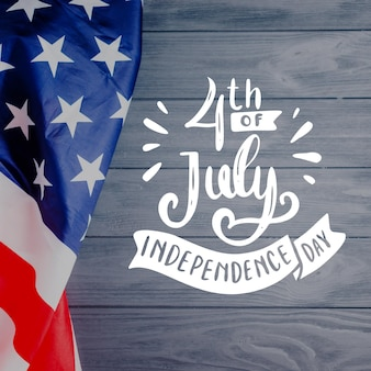 Independence day lettering with photo