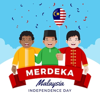 Independence day of malaysia illustrated