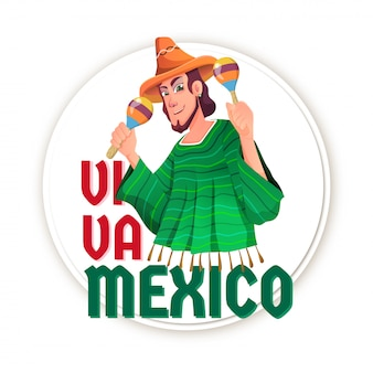 Independence day of mexico celebration card