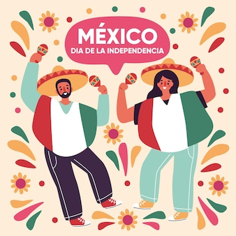 Independence day of mexico characters dancing Free Vector