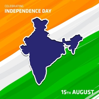 Independence day of india, a map on flag