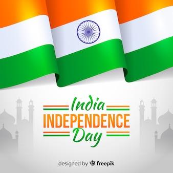 インドの背景フラットスタイルの独立記念日