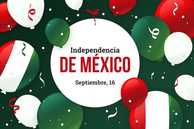 風船でメキシコの背景の独立記念日 無料ベクター