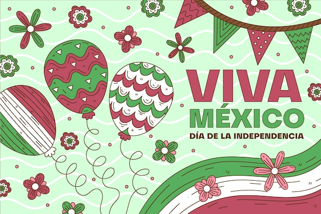 メキシコバルーン背景の独立記念日