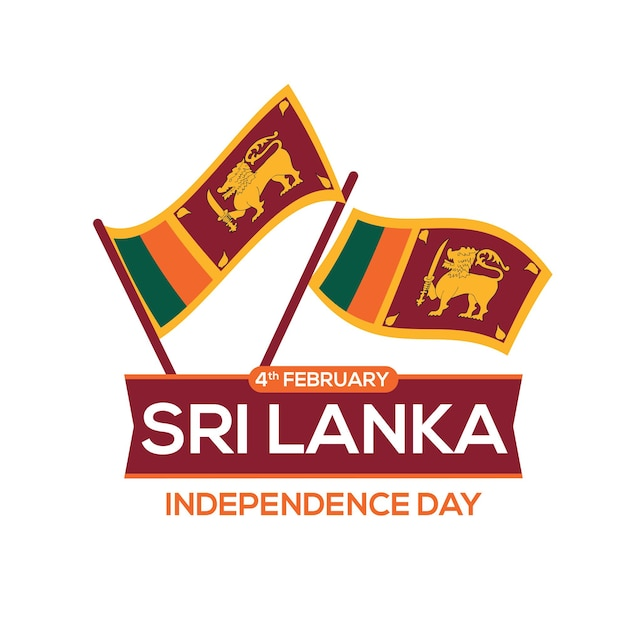 평면 디자인 스타일의 스리랑카 독립 기념일