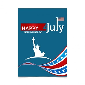 Independence day poster with flag and statue of liberty