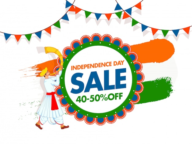 Independence day sale poster  with discount offer, man blowing tutari horn, saffron and green brush stroke effect on white background.