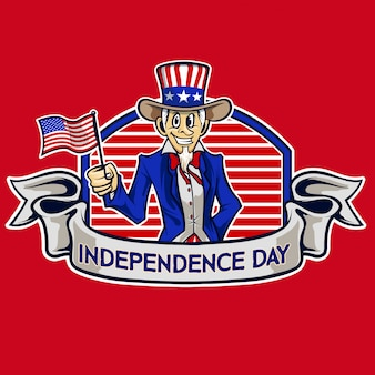Independence day uncle sam cartoon vector