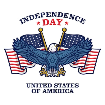 Independence day of united states of america. american flag with eagle.