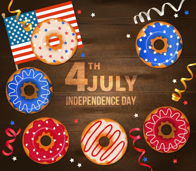 Independence day of united states of america illustration with national flag serpentine and decorated pastry on realistic wooden