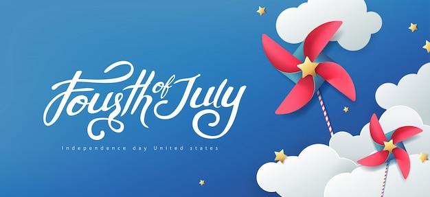 独立記念日米国バナーテンプレート。7月4日のお祝い