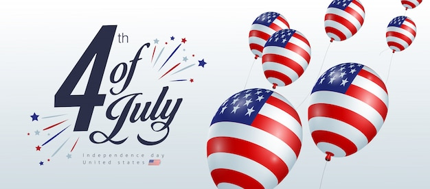 Independence day usa banner template american balloons flag decor.4th of july celebration